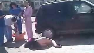 Drunken girl lies on the road with her ass naked--_short_preview.mp4