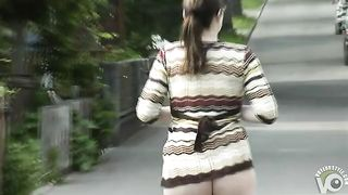 Sweater girl with a big ass strolls half naked outdoors--_short_preview.mp4