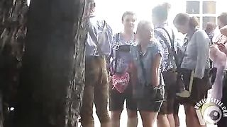 Oktoberfest beauties in line for the WC have to pee badly--_short_preview.mp4