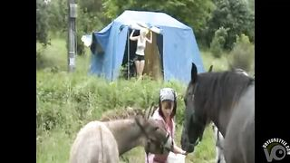 Naked tourists stand outdoors as farm girl watches--_short_preview.mp4