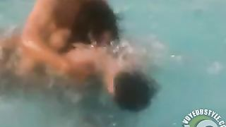 Skinny dipping girl and her man in the pool--_short_preview.mp4