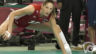 Leggy volleyball girl stretches before a match--_short_preview.mp4