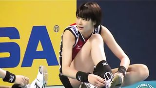 Asian volleyball girls stretch before a match--_short_preview.mp4