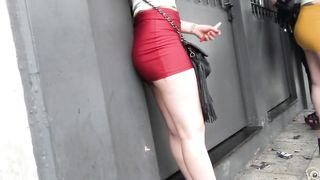 Long-haired coed girl is wearing a red miniskirt in public--_short_preview.mp4