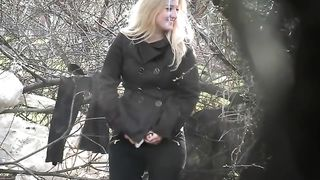 Blonde woman caught urinating in the woods--_short_preview.mp4