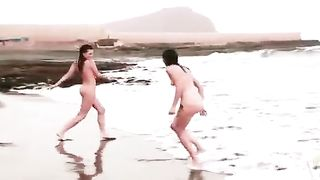 Beautiful naked brunettes splash around in the ocean--_short_preview.mp4