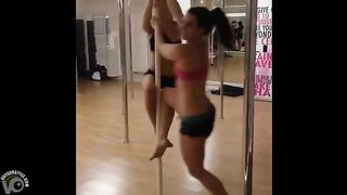 Girls at stripper fitness class spin on the pole--_short_preview.mp4
