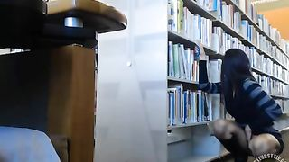 Female student makes upskirt selfie in library--_short_preview.mp4