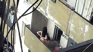 Girl sits on his balls out on the balcony--_short_preview.mp4