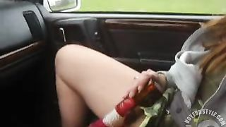 Redhead girlfriend has toy sex in the car as I drive--_short_preview.mp4