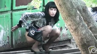 Ukrainian ladies in pantyhose caught making water by a dumpster--_short_preview.mp4