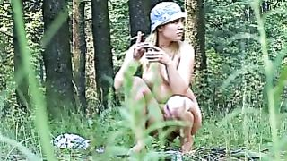 Lovely and cute Russian busty babe pisses in the forest--_short_preview.mp4