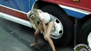 Girl peeing outside the bus for a big audience--_short_preview.mp4
