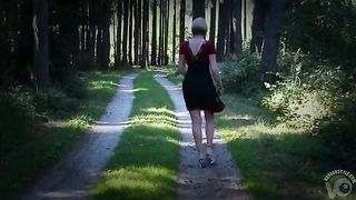 Shaved pussy upskirt walking down a wooded path--_short_preview.mp4