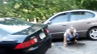 Laughing blonde girlfriend pees in the parking lot--_short_preview.mp4