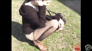 Fashionable Japanese doll pees her shorts outdoors--_short_preview.mp4