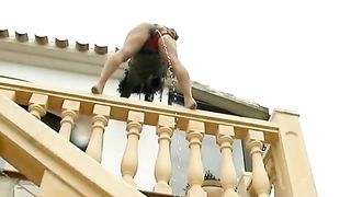 Sporty woman pissing off the deck--_short_preview.mp4