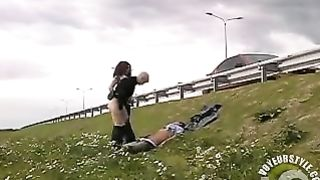 Girls beat up a guy and ride him by the highway--_short_preview.mp4