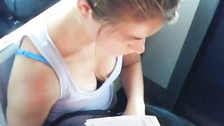 Great cleavage on a chick reading on the train--_short_preview.mp4