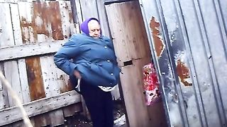 Old Russian woman takes a liquid shit outdoors--_short_preview.mp4
