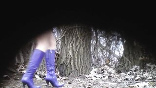 Slutty blonde in blue boots pees in the middle of the public park--_short_preview.mp4