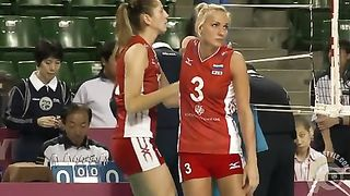 Volleyball girl in skintight shorts stretches before match--_short_preview.mp4