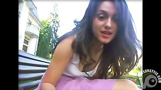 Camgirl in a pink skirt plays on a park bench--_short_preview.mp4