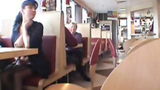 Brunette MILF flashing her jugs in a restaurant--_short_preview.mp4