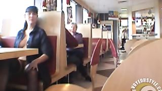 Brunette MILF flashing her jugs in a restaurant--_short_preview.mp4
