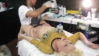 Blonde bimbo moans with pain as her pubis was being tattooed--_short_preview.mp4
