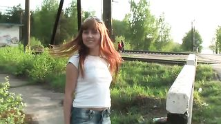 Really hot and lascivious redhead teen shows her breasts by the railway--_short_preview.mp4