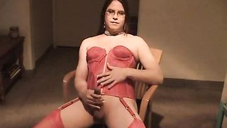 Chubby crossdresser dude in red lingerie beats his sissy dick--_short_preview.mp4