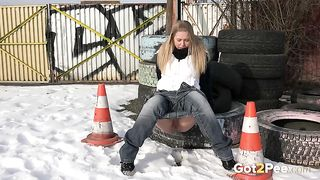 Blonde hot white girl pulls down her jeans and pisses on the tires--_short_preview.mp4