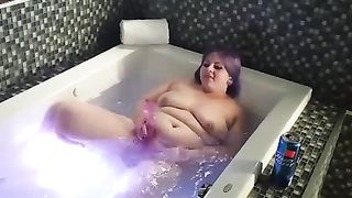 Kinky purple haired chubby BBW with huge boobies masturbates in bath tub--_short_preview.mp4