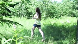 Gorgeous auburn haired fresh white teen pisses in the forest--_short_preview.mp4