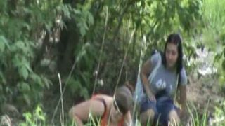 Adorable redhead white chick and her brunette friend outdoors--_short_preview.mp4