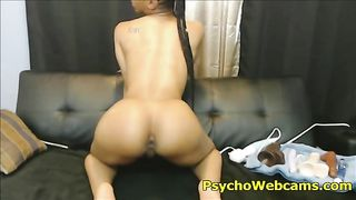 Athletic Black Ebony Sticky Dildo Sucking--_short_preview.mp4