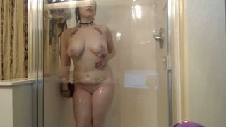 Purple haired emo nympho with quite nice boobs masturbated in shower--_short_preview.mp4