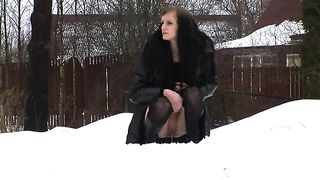 Slender white young Russian girl pisses on the street in the winter--_short_preview.mp4
