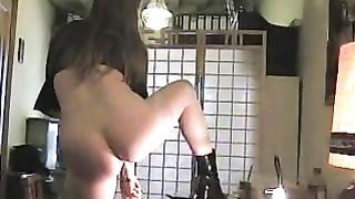 Cucumber and sausage substituting for a dildo in the kitchen--_short_preview.mp4