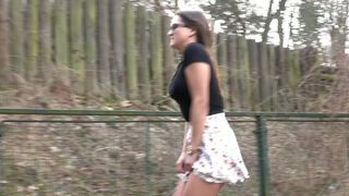 Dark haired nerdy slender lady pulls up her skirt just to pee in the park--_short_preview.mp4