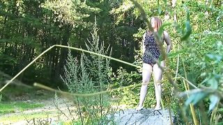 Gorgeous redhead Russian student girl in the woods pisses--_short_preview.mp4