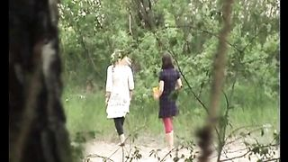 Blonde sweet sexy girl in the high grass pisses while her friend waits--_short_preview.mp4