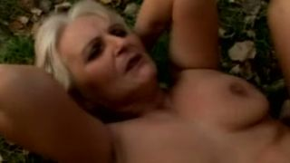 Blonde busty chunky white granny outdoors with her lover--_short_preview.mp4
