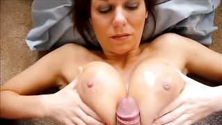 Bosomy and beautiful white milf wife takes a load on her boobs--_short_preview.mp4
