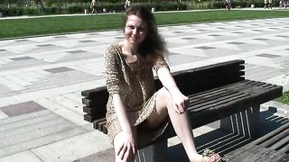 Redhead white girl on the bench spreads her legs on cam--_short_preview.mp4
