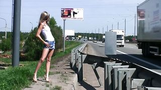 Fabulous and skinny playful Russian teen masturbates on the side of a highway--_short_preview.mp4