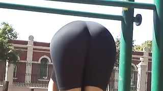 My sexy fit GF, wearing legging, takes exercises outdoors--_short_preview.mp4