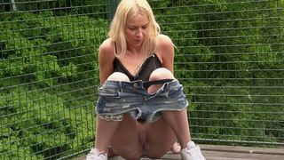 Cute and sporty teen pulls down her denim shorts and pisses--_short_preview.mp4