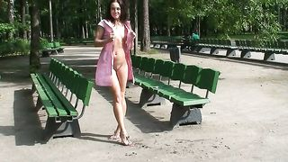 Fabulous white sexy teen in pink dress shows her pussy on the bench--_short_preview.mp4